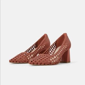 Zara woven wide heeled shoes